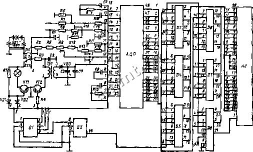 Рис 4 9 Принципиальная электрическая схема измерительного устройства электронного медицинского термометра ва БИС АЦП...